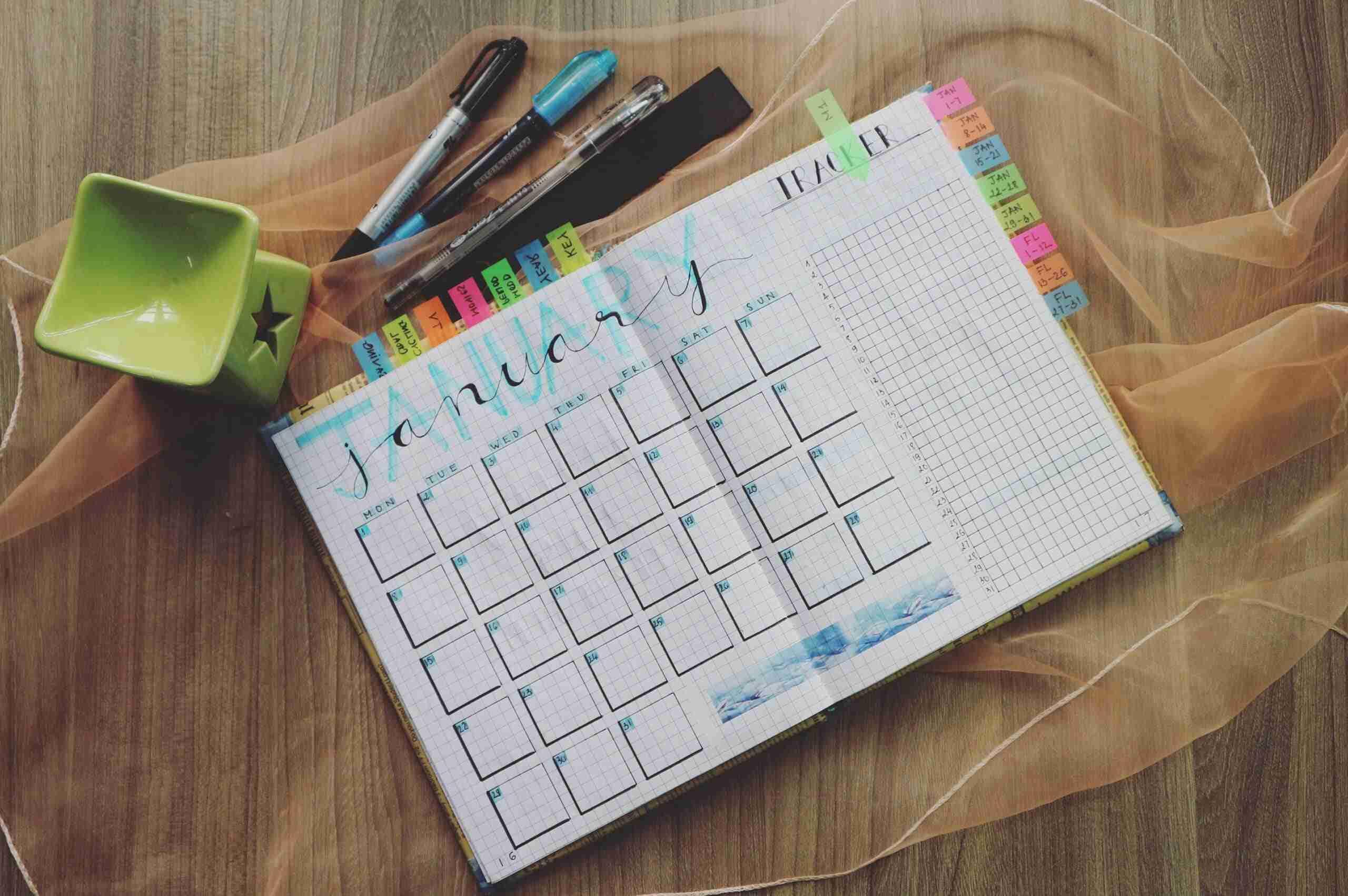 calendario de planificación de eventos